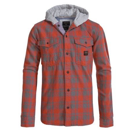 Quiksilver Hooded Flannel Shirt - Long Sleeve (For Big Boys) in Red