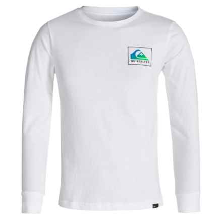 Quiksilver Logo T-Shirt - Long Sleeve (For Big Boys) in Heat Wave White - Closeouts