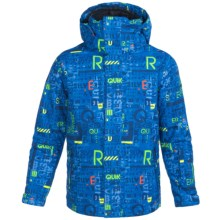Quiksilver Mission Printed Snowboard Jacket - Waterproof, Insulated (For Big Boys) in 4 Way Stripe Olympian Blue - Closeouts