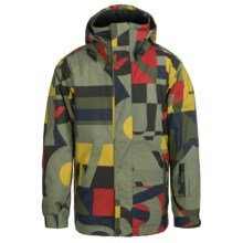 Quiksilver Mission Printed Snowboard Jacket - Waterproof, Insulated (For Big Boys) in Randomqk Brown - Closeouts