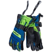 Quiksilver Mission Touchscreen-Compatible Gloves - Waterproof, Insulated (For Big Boys) in Check Kasper Snow Blue - Closeouts