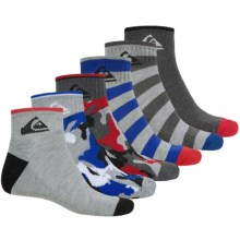 Quiksilver Print Ankle Socks - 6-Pack (For Little and Big Boys) in Charcoal Camo - Closeouts