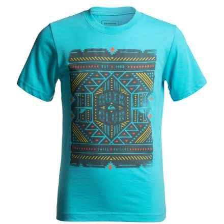 Quiksilver Printed Graphic T-Shirt - Short Sleeve (For Big Boys) in Scuba Blue Heather - Closeouts