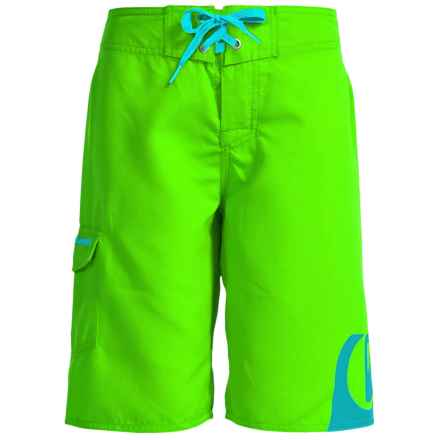 Quiksilver Side Logo Boardshorts (For Little and Big Boys) in Green Gecko - Closeouts