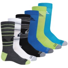 Quiksilver Stripes and Logo Socks - 6-Pack, Crew (For Little and Big Boys) in Black Multi Logo/Stripe - Closeouts
