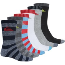 Quiksilver Stripes and Logo Socks - 6-Pack, Crew (For Little and Big Boys) in Heather Multi Stripe - Closeouts