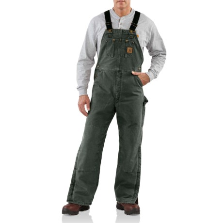 Image of Quilt Lined Sandstone Bib Overalls - Insulated (For Men)