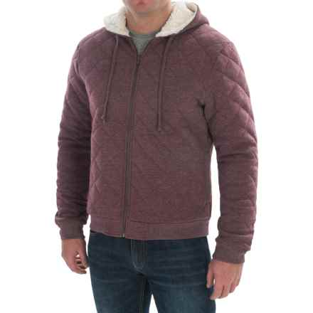 Quilted Hoodie - Sherpa-Lined Hood (For Men) in Wine Heather - 2nds