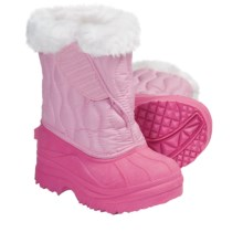 Quilted Lined Snow Boots (For Kid and Youth Girls) in Light Pink/Dark Pink - Closeouts