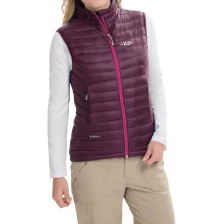 Rab Microlight Vest - 750 Fill Power (For Women) in Aubergine/Quince - Closeouts