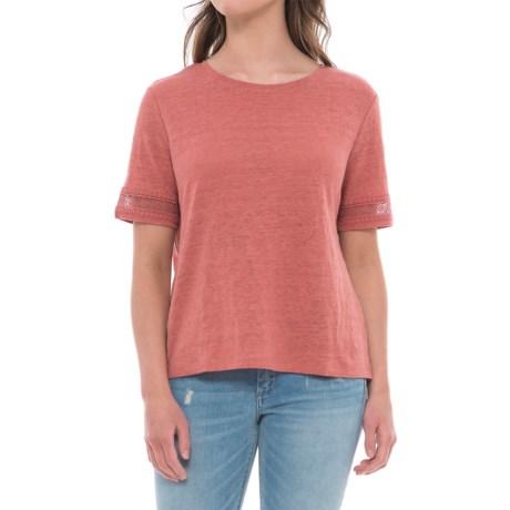 Rachel Ashwell Lace-Trim Linen Shirt - Short Sleeve (For Women)