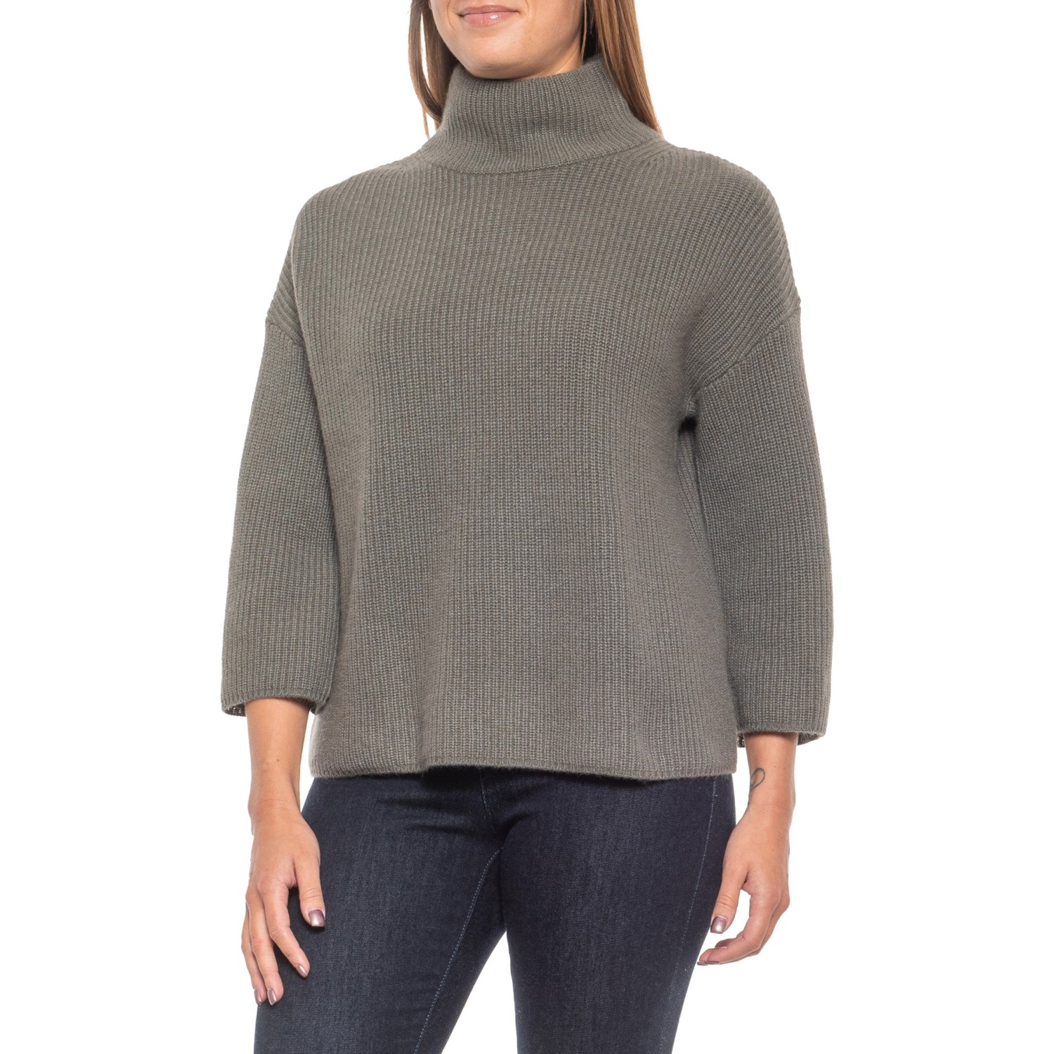 Rachel Zoe 100% Cashmere Pine Grove Mock Neck Sweater (For