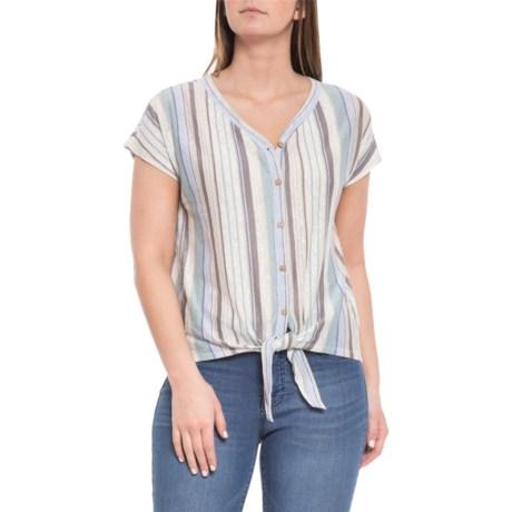 e2aafddfcd Rachel Zoe Blue Tie Front Shirt - Short Sleeve (For Women) in Blue