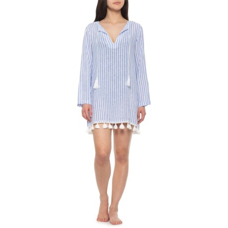 701b432ed68 Rachel Zoe Striped Beach Cover-Up - Linen-Rayon, Long Sleeve (For