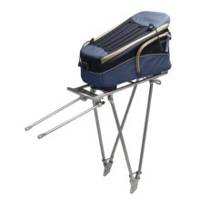 Racktime Fold-It Rear Bike Rack with Trunkit - Small in Storm Blue/ Deep Blue - Closeouts