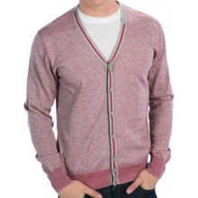 Raffi Lightweight V-Neck Cardigan Sweater - Cotton (For Men) in Rose - Closeouts
