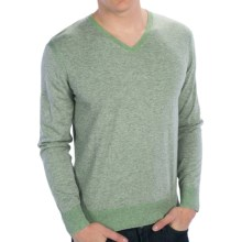 Raffi Lightweight V-Neck Sweater - Cotton (For Men) in Lime - Closeouts