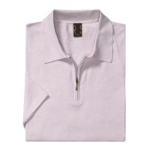Raffi Luxe Polo Shirt - Zip Neck, Short Sleeve (For Men) in Liliac - Closeouts