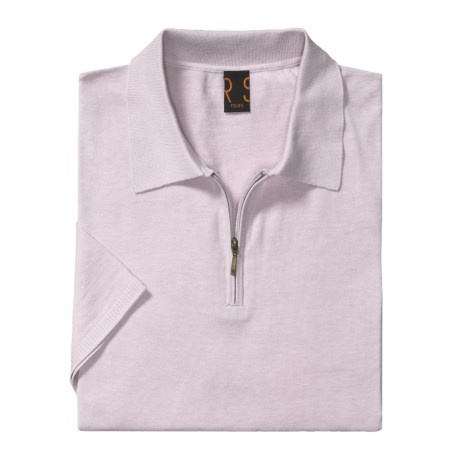 Raffi Luxe Polo Shirt - Zip Neck, Short Sleeve (For Men) in Liliac