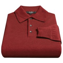Raffi Merino Wool Polo Shirt - Long Sleeve (For Men) in Wine - Closeouts