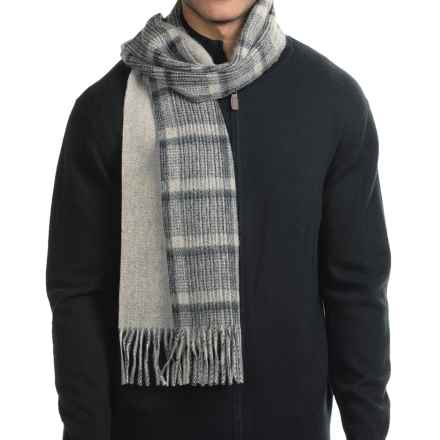 Raffi Plaid Woven Cashmere Scarf (For Men) in Steel/Black - Closeouts