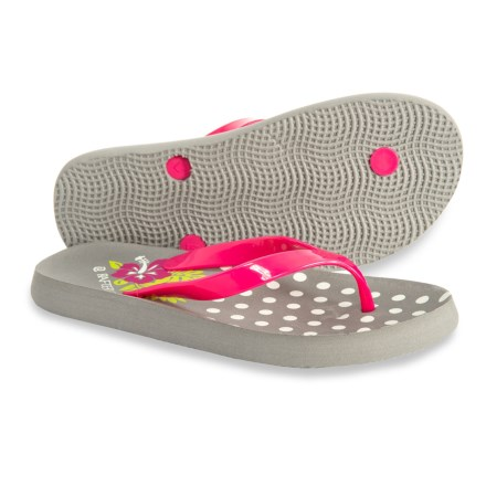2328d1878 Rafters Fiji Hibiscus Flip-Flops (For Girls) in Gray - Closeouts