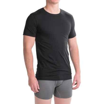 Ragman Pima Cotton Crew Neck Undershirts - 2-Pack, Short Sleeve (For Men) in Black - Closeouts