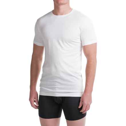 Ragman Pima Cotton Crew Neck Undershirts - 2-Pack, Short Sleeve (For Men) in White - Closeouts