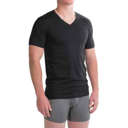 Ragman Pima Cotton V-Neck Undershirts - 2-Pack, Short Sleeve (For Men) in Black - Closeouts