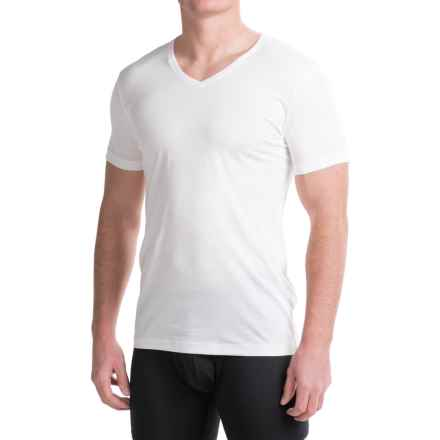 Ragman Pima Cotton V-Neck Undershirts - 2-Pack, Short Sleeve (For Men) in White - Closeouts