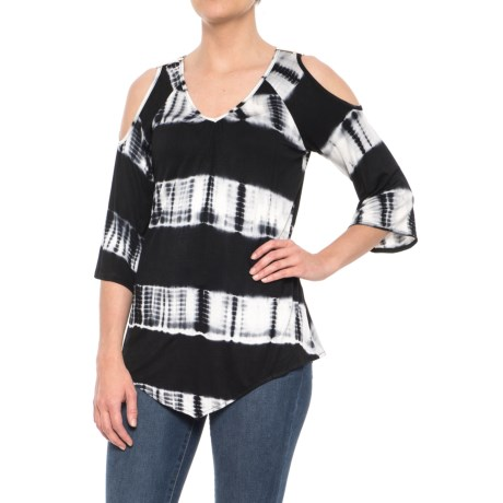 Rain Cold-Shoulder Printed Shirt - 3/4 Sleeve (For Women) in Black