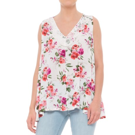 Rain Floral Print Tank Top (For Women) in White