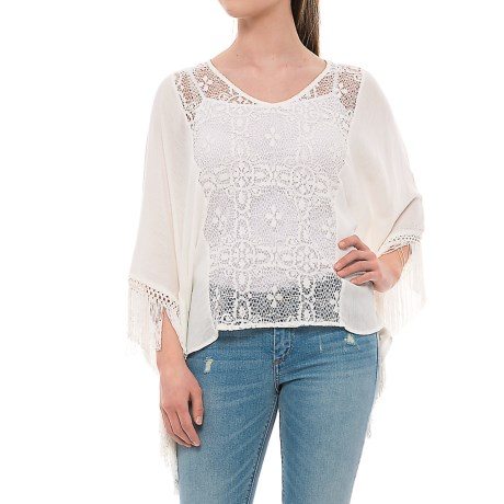 Rain Lace Front Shirt - 3/4 Sleeve (For Women) in Ivory