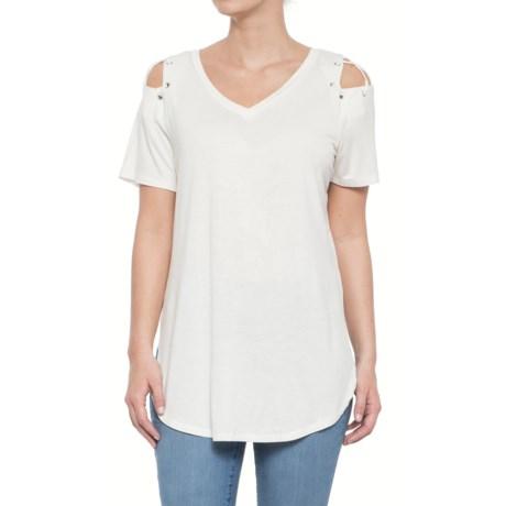 Rain Laced Shoulder Shirt - Short Sleeve (For Women) in White