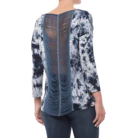 35c92631513ca Rain Printed Shirt - Scoop Neck, 3/4 Sleeve (For Women) in