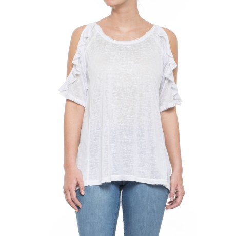 Rain Ruffle Sleeve Cold-Shoulder Shirt - Elbow Sleeve (For Women) in White