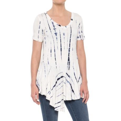 Rain V-Neck Peplum Shirt - Short Sleeve (For Women) in Blue