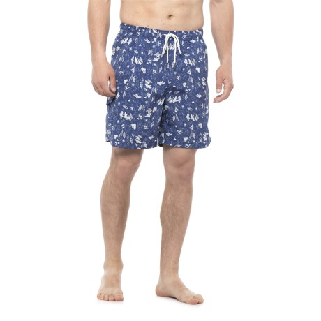 Rainforest Beach Print Swim Trunks (For Men) in Surf/White