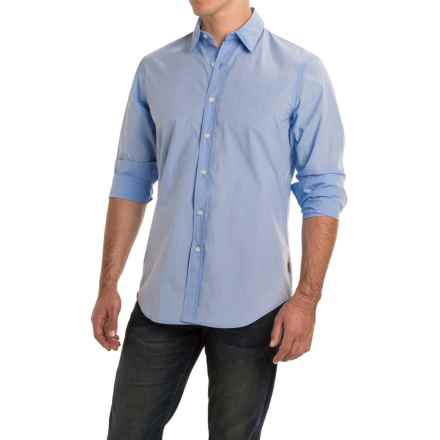 Rainforest Broadcloth Shirt - Long Sleeve (For Men) in Fine Line Stripe Azure Blue - Closeouts