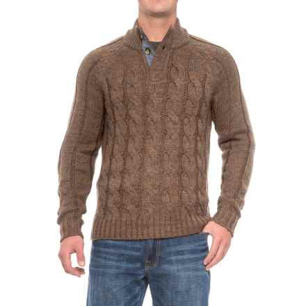 Rainforest Cable Henley Sweater (For Men) in Brown Heather - Closeouts