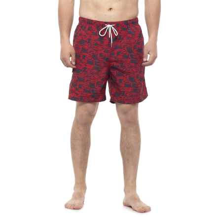 Rainforest Camo Shark Swim Trunks (For Men) in Red - Closeouts