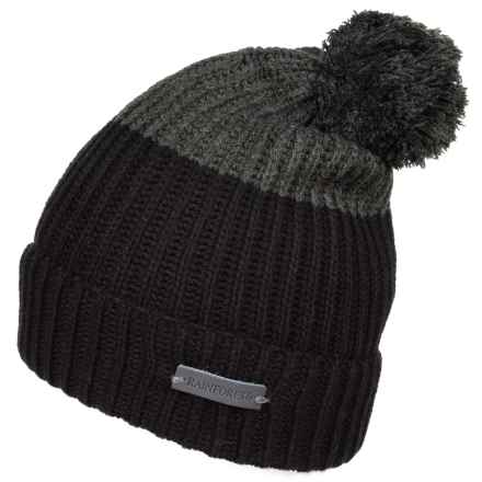Rainforest Color-Block Pompom Beanie (For Men) in Black/Heather Grey - Closeouts