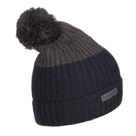 Rainforest Color-Block Pompom Beanie (For Men) in Navy/Heather Grey - Closeouts