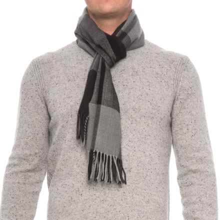 Rainforest Engineered Plaid Fringed Scarf (For Men) in Black/Grey - Closeouts