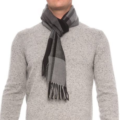 Rainforest Engineered Plaid Fringed Scarf (For Men) in Black/Grey
