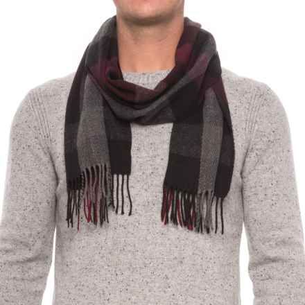 Rainforest Engineered Plaid Fringed Scarf (For Men) in Burgundy/Black - Closeouts
