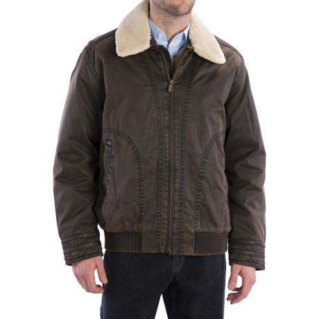 Rainforest Garment- Washed Bomber Jacket - Down Insulated (For Men) in Brown