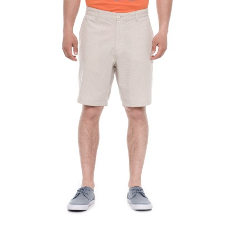 Rainforest Horizontal Stripe Shorts (For Men) in Taupe/White