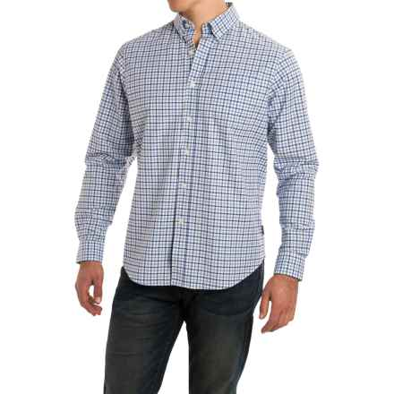 Rainforest Plaid Stretch Oxford Shirt - Long Sleeve (For Men) in Blue Plaid Navy - Closeouts