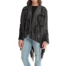Raj Ultrasuede® Fringe Poncho (For Women) in Charcoal - Closeouts